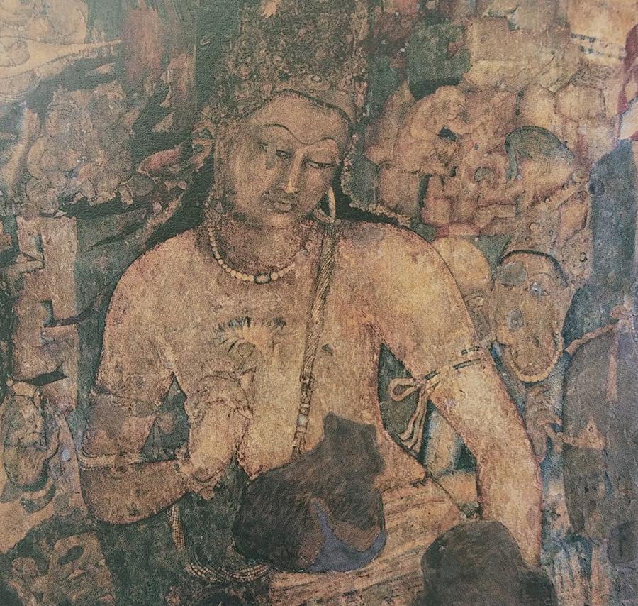 ภาพวาดพระปัทมปาณิโพธิสัตว์ จิตรกรรมที่ผนังถ้ำอชันตา หมายเลข1 ศิลปะคุปตะตอนปลาย หรือหลังคุปตะ(พุทธศตวรรษที่12) ถือกันว่าเป็นงานจิตรกรรมที่งดงามที่สุดภาพหนึ่งของประวัติศาสตร์ศิลปะอินเดีย